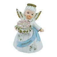 Lefton January Birthday Angel Girl Figurine Cake Topper Carnation Vintage 1988
