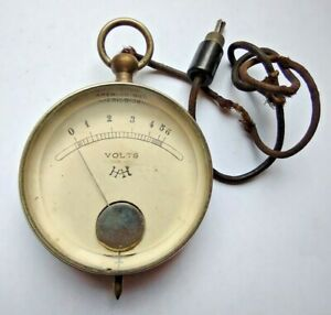 VINTAGE VOLT ELECTRICAL GAUGE - Fob Watch Style Steampunk Old Meter Electric