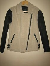 A WOMENS LOVELY STYLISH NEXT SUDE & FAUX FUR BLACK & WHITE JACKET  SIZE 10