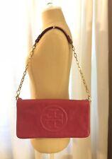 $350 Tory Burch Embossed Reva Bombe Clutch Shoulder Bag Magenta Pink Leather Bag