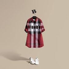 NEW $225 Burberry Girls Check Print Tunic Shirt Dress Gift, Size 6Y/116cm
