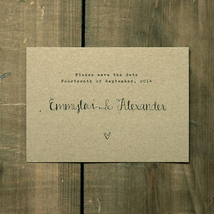 Personalised Calligraphy Kraft Wedding Save the Date or Evening -Rustic Handmade
