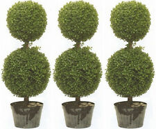 """3 ARTIFICIAL 34"""" TOPIARY TREE UV BOXWOOD BALL OUTDOOR POOL 4 5 PATIO DECK PORCH"""