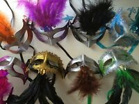 Lot 10 party masks costume venetian masquerade Mardi Gras Feather Wedding Quince