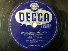 """78 rpm 10"""" JIMMY YOUNG unchained melody/ help me forget"""
