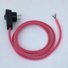 2 m câble textile de raccordement réticulaire Neon Pink Bouchon/Interrupteur