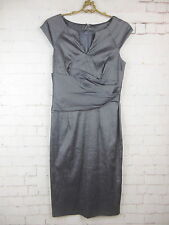 ADRIANNA PAPELL Stretch Blend Shiny Gray V-Neck Lined Sheath Dress Sz 4 #6048
