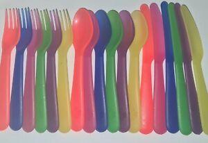 Children Colour Plastic Cutlery Set Knife Fork Spoon Dinner kids Boy Girl NEW
