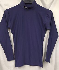 UNDER ARMOUR Women's Junior Size S Dark Blue Mock Neck Fitted Long Sleeve Shirt