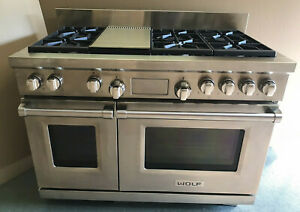 """WOLF DF486G 48"""" Dual Fuel Stainless Range w/ 6 Sealed Burners & Infrared Griddle"""