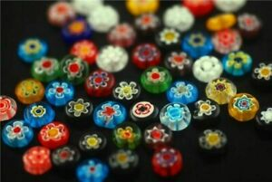 Bulk Charms Colorized Flower Millefiori Beads Crafts Jewelry Findings 8/10mm#