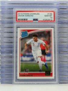 2018-19 Donruss Jadon Sancho Rated Rookie RC #189 PSA 10 GEM MINT England F65