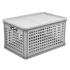 Lagerkasten Euro-Box Gitterbox mit Deckel 60 x 40 x 32 cm Stapelbox Grau 64 L