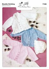 7186 Double Knitting Pattern for Baby Cardigans & Bonnet