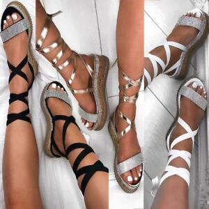 Womens Ladies Flatforms Diamante Sparkly Sandals Espadrilles Lace Up Wedge Size