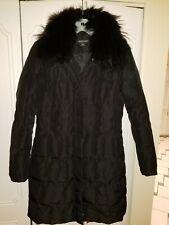 Womens 1 MADISON Black Fur Trim Collar Puffer Down Zip Coat Jacket Size Small S