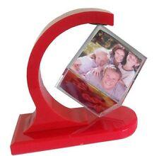 Happy GiftMart Rotating Photo Frame 360 Degree Floating Photo Cube Frame [Red]