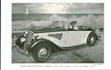 Publicité ancienne voiture Cabriolet Chenard et Walker 1935 issue de magazine