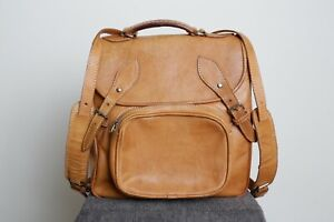 Quality Vintage Tan Thick Leather Backpack