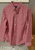 VINEYARD VINES Men's Red & White Check Button Down Classic Tucker Shirt Sz L