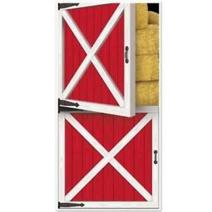 Red Barn Door Cover All-Weather Indoor/Outdoor Farm Birthday Party Decoration