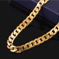18K 10MM Gold Plated Men Ladies Curb Links Chain Fashion Unisex Jewelry 20 inch