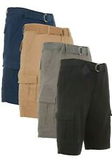 Men's Cargo Shorts Casual Cotton Twill Multi Pockets Lightweight Outdoor Belted