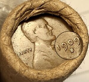 OLD LINCOLN WHEAT CENT PENNY ROLL 1909-S & 1909 ENDS BANK OF SAN FRANCISCO WRAP!