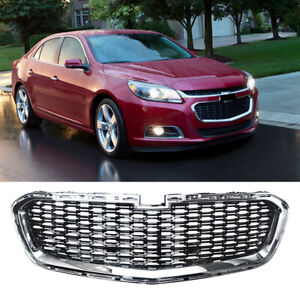 Front Bumper Grille for 2014-2016 Chevrolet Malibu Chrome Black Lower Grill ABS