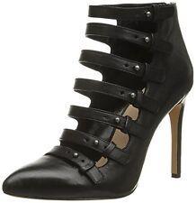 $275 size 6.5 Pour La Victoire Zora Black Leather Strappy Heel Pump Booties Shoe