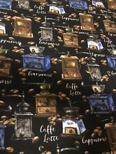 FRESH ROASTED COFFEE GRINDERS  quilters cotton Fabric per yard sewing craft