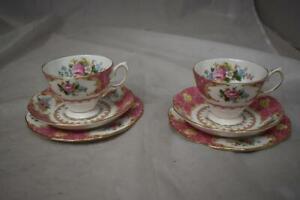 Royal Albert Lady Carlyle Bone China 2x Trio Sets (Cups, Saucers, Plates) LOT B