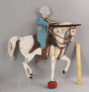 Antique Authentic Folk Art Painted General George Washington Tin Weathervane