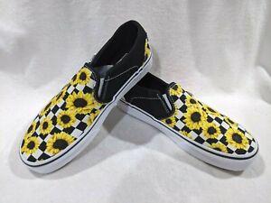 Vans Women's Asher Sunflower Checker Multicolor Slip On Skate Shoes-Asst Sizes