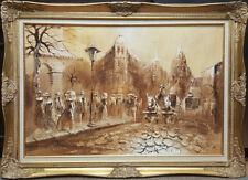 Vintage Boris Chezar Original Streetscape Oil Sand Painting Canvas Large Framed
