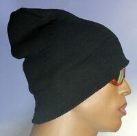 LARIKIN Signature Wool Knit Mens Beanie Hat ALL BLACK White Logo Brand New