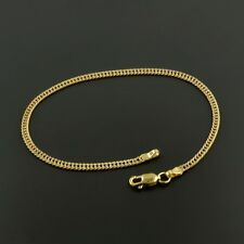 "10K YELLOW GOLD 3.4MM PAVE CURB LINK 7.5"" INCH BRACELET W/ LOBSTER LOCK"
