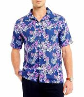 Daniel Cremieux Print Shop Dark Blue Hibiscus Short Sleeve Button Up Shirt M Nwt