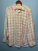 Tommy Bahama Relax Multi Color Striped Mens Linen Button Front L/S Shirt Large
