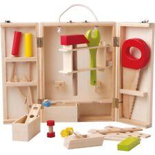 KINDER HOLZ WERKZEUGKOFFER Bau- Holzspielzeug Werkzeugkaste & Zubehör    # 91188