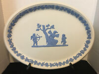 54% OFF  VERY RARE!!  Wedgwood REVERSE Blue On White Large Oval Tray Mint Cond