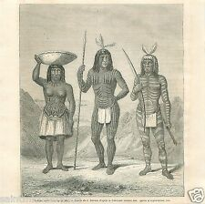 Costumes Indians Warriors Mohaves Mojave North America GRAVURE OLD PRINT 1860