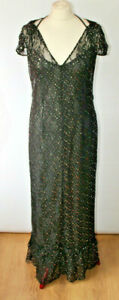 River Island Maxi Dress Black Lace Sparkle Detail Layered Prom Party Goth UK 10
