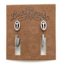 """LUCKY BRAND Silvertone Oval Peace Sign Studs 3/8"""" & Textured Hoop Earrings 5/8"""""""