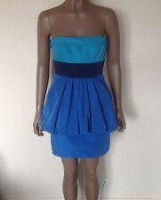BCBG MAX AZRIA Cobalt Blue Electric Turquoise Peplum Bandeau Dress Size 0 UK 6