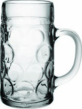 More details for glass german beer tankard stein beer dimple glass  - 2 pints
