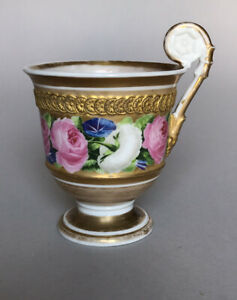 Antique Russian Imperial Porcelain Tea Cup - Painted Roses & Foliage