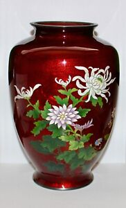 Antique Japanese SATO Ginbari Akasuke Pigeon Blood Cloisonné Enamel Vase 9.5in