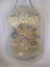 "Vtg. Welcome Resin Wall Hanger Plaque 18""x8"" With Leather Hanger Excel. Cond."