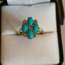 9ct Gold Turquoise and Citrine Ring